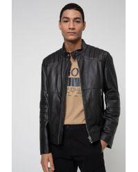 Blouson de motard Slim Fit en cuir nappa HUGO pour homme en coloris Black
