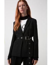 HUGO - Black Regular-fit Jacket With Metallic-eyelet Belt - Lyst