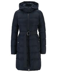 BOSS Blue Hooded Down Jacket With Water-repellent Outer