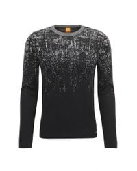 BOSS Orange - Black Slim-fit Sweater In Cotton And Silk Blend for Men - Lyst