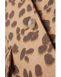 BOSS Brown Leopard-print Coat In A Wool Blend