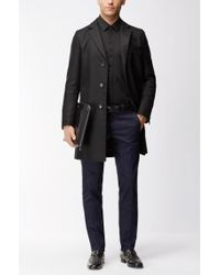 BOSS Black Slim-fit Cotton Dobby Shirt With A Satin Covered Placket for men