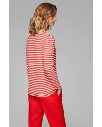 BOSS Red Regular-fit Top With Wide Neckline In Stretch Jersey