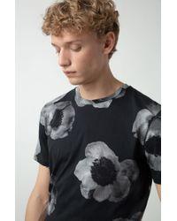 T-shirt en jersey de coton à imprimé floral, en négatif HUGO pour homme en coloris Black