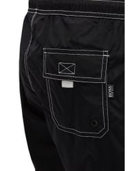BOSS Black Drawstring Swim Shorts In Quick-drying Fabric for men