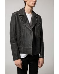 HUGO Black Relaxed-fit Biker Jacket In Nappa Calf Leather for men