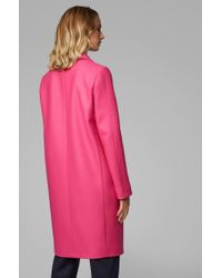 BOSS Pink Heavyweight Coat In A Wool Blend With Cashmere