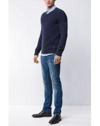 BOSS Orange - Blue Rib-panelled Cotton Sweater for Men - Lyst