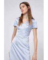 Vestido evasé de tejido elástico con cintura tachonada HUGO de color Blue