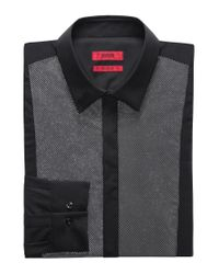 HUGO Black Extra-slim-fit Cotton Evening Shirt With Patterned Front Panel for men