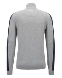 BOSS Gray Color-block Sweater In A Water-repellent Cotton Blend for men