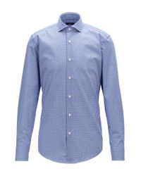 BOSS Blue Slim-fit Shirt In Diamond-print Italian Cotton for men