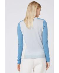 BOSS Blue Fara Virgin Wool Color - Block Sweater