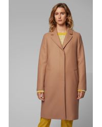 BOSS Brown Heavyweight Coat In A Wool Blend With Cashmere