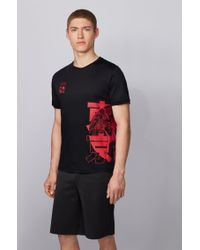 BOSS by Hugo Boss Black Slim-fit T-shirt In Organic Cotton With Tokyo Artwork for men
