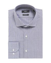 BOSS Blue Plaid Fresh Active Traveler Dress Shirt, Regular Fit   Gordon for men