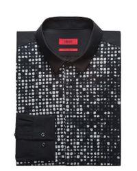 HUGO Black Slim-fit Cotton Shirt With Glitter-effect Dégradé Print for men