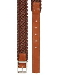 BOSS - Brown Woven Multi-tonal Textile Belt With Leather Trim for Men - Lyst