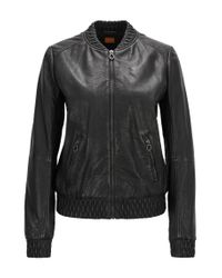 BOSS Black Regular-fit Leather Jacket With Gathered Trims