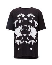 HUGO Black Oversized-fit T-shirt In Printed Cotton for men