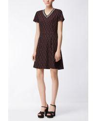 BOSS Brown Waisted Dress In Jacquard Jersey