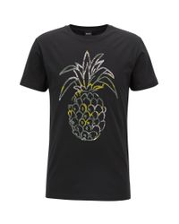 BOSS Black Regular-fit Pineapple-print T-shirt In Washed Cotton Jersey for men