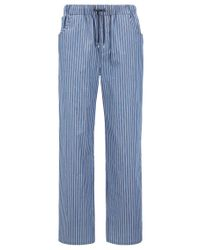 BOSS - Blue Pyjama Trousers In Striped Cotton Twill With Pockets for Men - Lyst