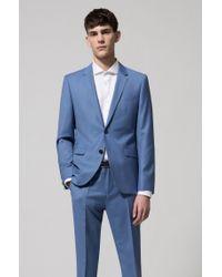 HUGO - Blue Extra-slim-fit Melange Virgin Wool Suit for Men - Lyst