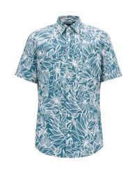 BOSS Green Floral-print Slim-fit Shirt In Washed Cotton for men