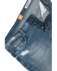 BOSS Orange - Blue Tapered-fit Jeans In Distressed Stretch Denim for Men - Lyst