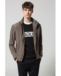 HUGO Brown Stand-collar Jacket In A Technical Fabric for men