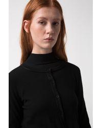 HUGO - Black Cropped Crew-neck Cardigan In Merino Wool - Lyst