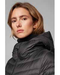 BOSS Black Hooded Puffer Coat With Degradé Quilting