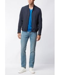 BOSS Orange Blue Used-look T-shirt In Pure Cotton: 'toulouse' for men