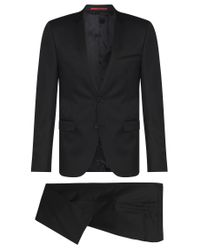 HUGO - Black Extra-slim-fit Suit In Virgin Wool for Men - Lyst