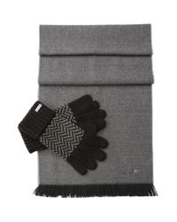 BOSS Orange - Black Set Comprising A Scarf And Gloves In A Fabric Blend With Wool: 'n-set' for Men - Lyst