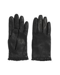 HUGO - Black Leather Gloves With Flounced Border: 'dh 71' - Lyst