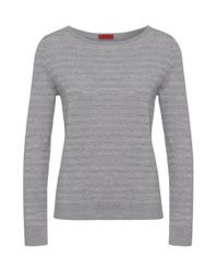 HUGO Gray Sweater In New-wool Blend With Metal Fibres: 'salmira'