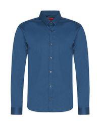 HUGO   Blue Plain Slim-fit Shirt In Stretch Cotton: 'ero3' for Men   Lyst