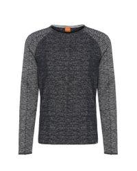 BOSS Orange | Blue Relaxed-fit Sweatshirt In Cotton Blend: 'welles' for Men | Lyst