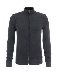 BOSS Orange | Blue Slim-fit Sweatshirt Jacket In Cotton: 'zantana' for Men | Lyst