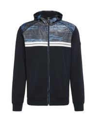 BOSS Green | Blue Regular-fit Sweatshirt Jacket In Cotton With Patterned Trim: 'samoo' for Men | Lyst
