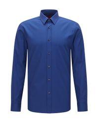 HUGO | Blue Extra Slim-fit Shirt In Textured Stretch Cotton: 'elisha' for Men | Lyst