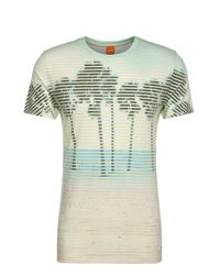 BOSS Orange   Yellow Print T-shirt In Material Blend With Cotton: 'telling'   Lyst