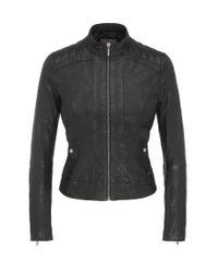 BOSS Orange | Black Slim-fit Biker Jacket In Nappa Leather | Lyst