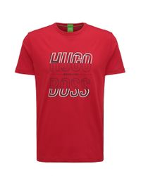 BOSS Green - Red Regular-fit T-shirt In Single Jersey for Men - Lyst