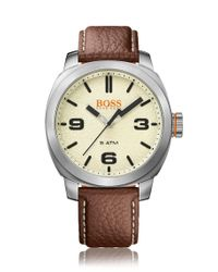 BOSS Orange - Metallic Quartz Watch With Finely Grained Leather Strap: 'cape Town' for Men - Lyst