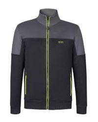 BOSS Green | Black 'skaz' | Cotton Blend Zip Up Track Jacket for Men | Lyst