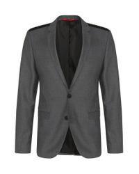 HUGO | Gray Extra Slim-fit Jacket In New Wool With Shoulder Detail: 'andson' for Men | Lyst