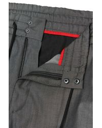HUGO Black Mottled Tapered-fit Trousers In New-wool Blend With Cotton: 'himesh4' for men